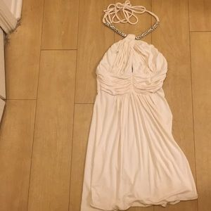 Sky cream ruched crystal wrap halter dress Xs